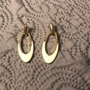 White and Gold hard metal earrings